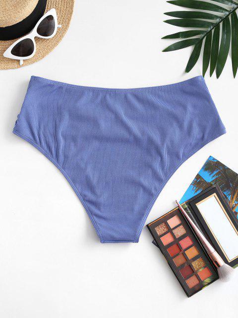shops ZAFUL Plus Size Ribbed Ruched Bikini Bottom - BLUE XL Mobile