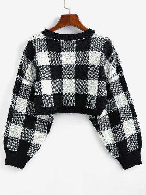 ladies ZAFUL Plaid Drop Shoulder Crop Sweater - BLACK M Mobile