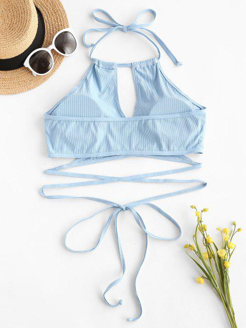 online ZAFUL Plus Size Ribbed Halter Wrap Bikini Top - LIGHT BLUE XXXL Mobile