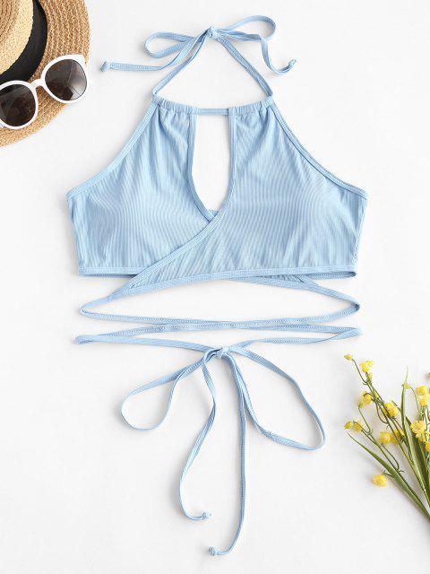 ZAFUL Haut de Bikini Côtelé Enveloppé de Grande Taille à Col Halter - Bleu clair XXXXL Mobile