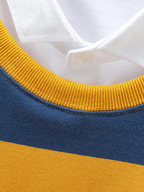 new Crew Neck Stripes Patched Sweatshirt - YELLOW 4XL Mobile