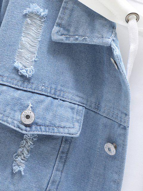 chic Distressed Ripped Flap Pocket Jean Jacket - LIGHT BLUE 3XL Mobile
