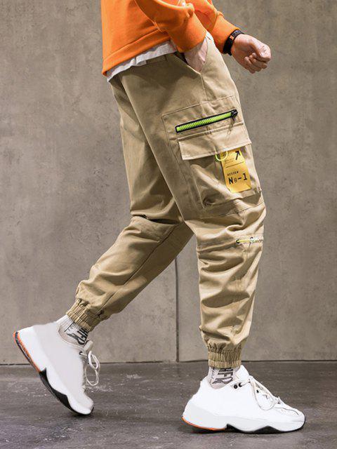 sale Letter Print Colorblock Patchwork Cargo Pants - KHAKI 4XL Mobile