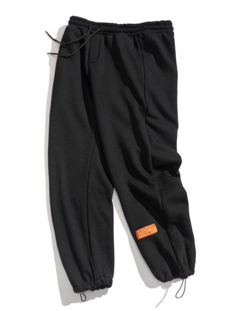 Pantalones de Deportes de Apliques de Letras con Cordón - Negro L Mobile