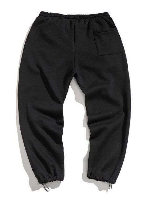 Pantalones de Deportes de Apliques de Letras con Cordón - Negro S Mobile