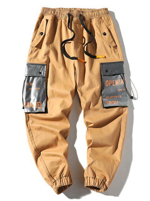 best Letter Print Colorblock Pocket Cargo Pants - KHAKI XS Mobile