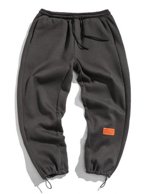 Pantalones de Deportes de Apliques de Letras con Cordón - Gris S Mobile