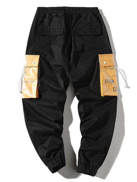 womens Letter Print Colorblock Pocket Cargo Pants - BLACK XS Mobile