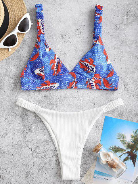 outfits ZAFUL Ruched Straps Koi Fish Print Ribbed Bikini Swimwear - BLUE M Mobile