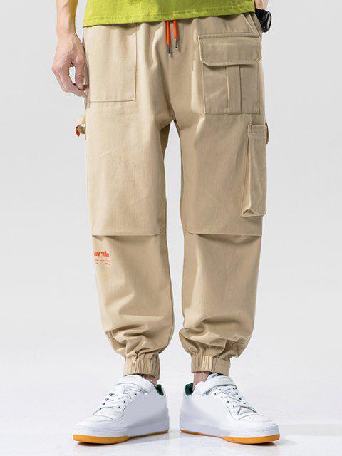 women Letter Print Multi-Pocket Beam Feet Cargo Pants - KHAKI 4XL Mobile