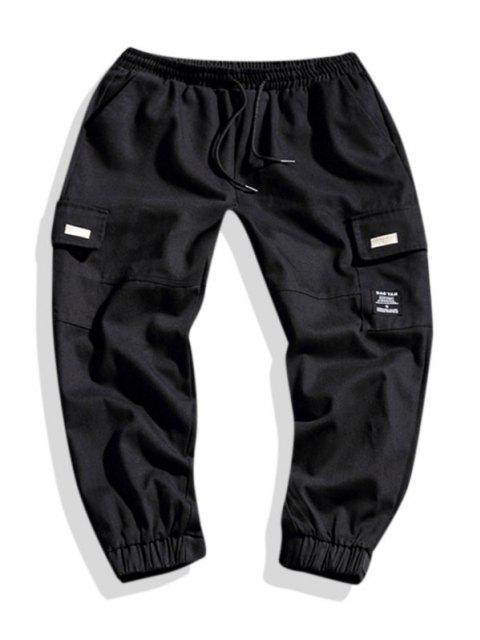 Pantalones de Carga con Bordado Geométrico de Letras - Negro L Mobile