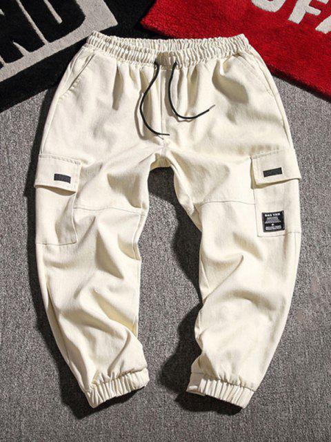 shops Letter Applique Geometric Embroidered Cargo Pants - BEIGE 2XL Mobile