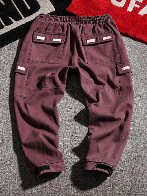 chic Letter Applique Geometric Embroidered Cargo Pants - RED WINE XS Mobile