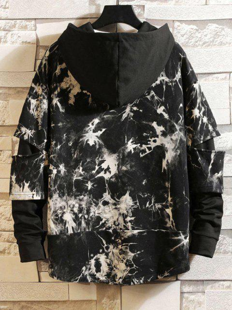 latest Graphic Drawstring Tie Dye Combo Hoodie - KHAKI XL Mobile