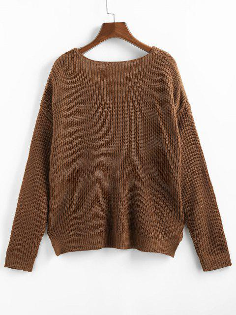 womens ZAFUL V Neck Drop Shoulder Slit Sweater - COFFEE S Mobile
