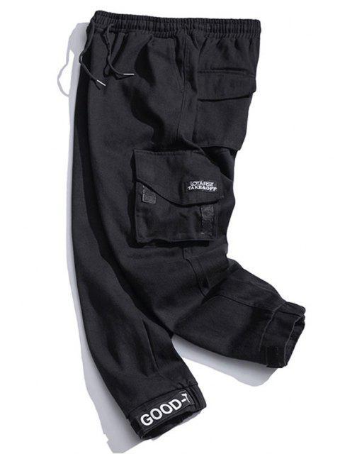 Pantalones de Carga con Cordón con Multi-bolsillo - Negro M Mobile