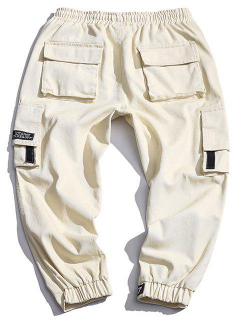 Pantalones de Carga con Cordón con Multi-bolsillo - Beige M Mobile