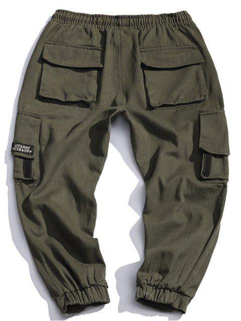 ladies Multi Pocket Design Drawstring Cargo Pants - ARMY GREEN L Mobile