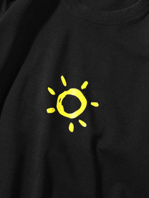 Cartoon Sonnen Gedrucktes Kapuze Sweatshirt - Schwarz XS Mobile