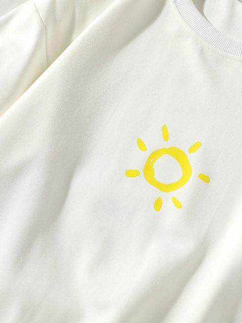 fancy Cartoon Sun Printed Pullover Sweatshirt - WHITE XL Mobile