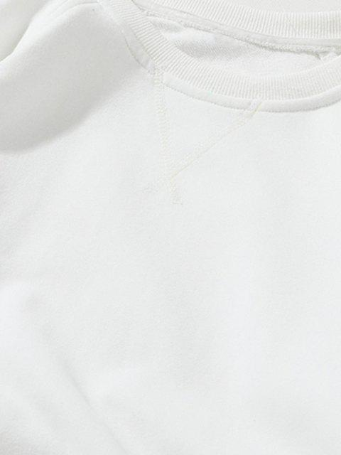 Raglan Ärmel Ellbogen Patchwork Sweatshirt - Weiß XS Mobile