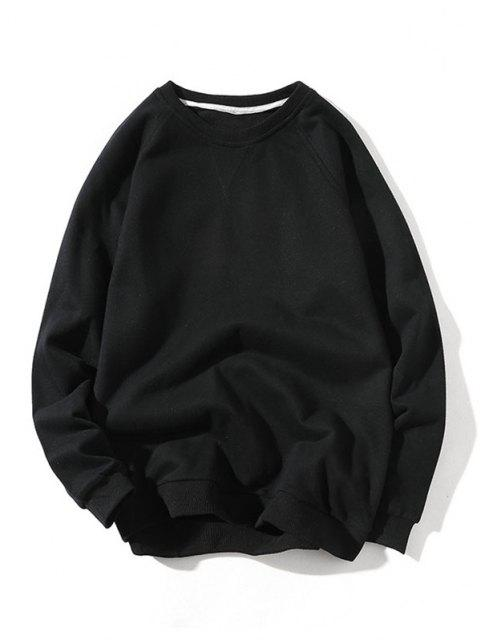 womens Raglan Sleeve Elbow Patchwork Sweatshirt - BLACK M Mobile
