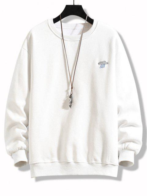 fashion Crew Neck Rainy Embroidered Fleece Lined Sweatshirt - WHITE 2XL Mobile