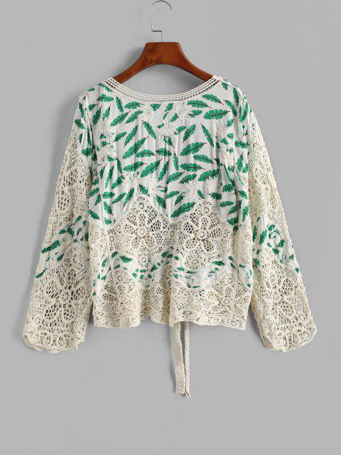 women's Leaves Print Crochet Panel Cover Up Cardigan - WHITE ONE SIZE Mobile