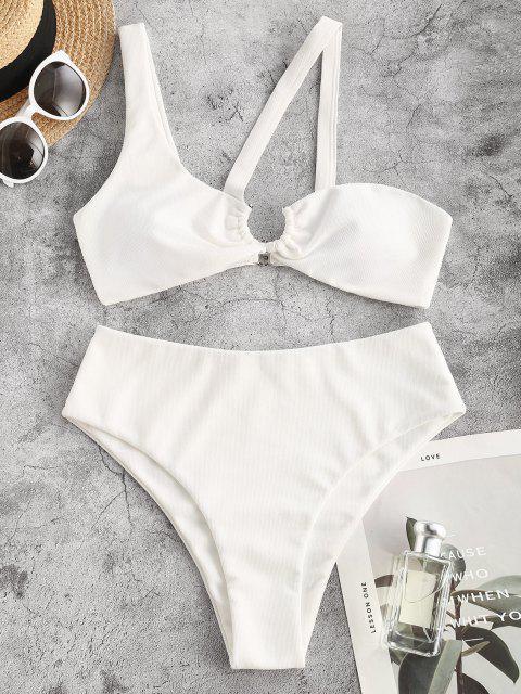 sale ZAFUL Textured U-bar One Shoulder Cutout Bikini Swimwear - WHITE M Mobile