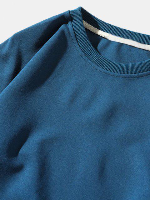 sale Pure Color Pullover Sweatshirt - BLUE XS Mobile