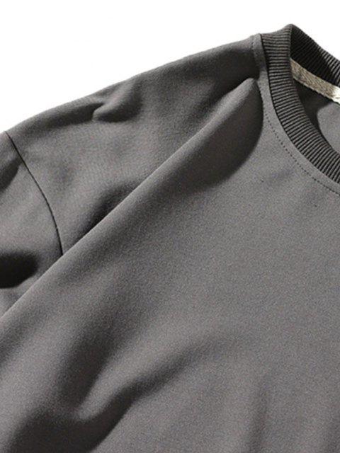 unique Pure Color Pullover Sweatshirt - GRAY XS Mobile