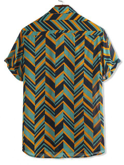 Zick Zack Druck Kurzarm Hemd mit Knöpfen - Multi-A XL Mobile