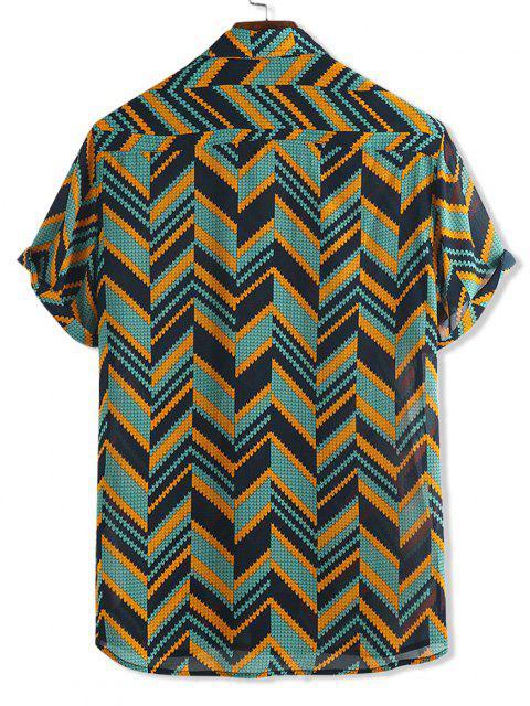fancy Zigzag Print Short Sleeve Button Shirt - MULTI-A L Mobile