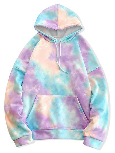 Tie Dye Pullover Fleece Drawstring Hoodie - Blue Xl