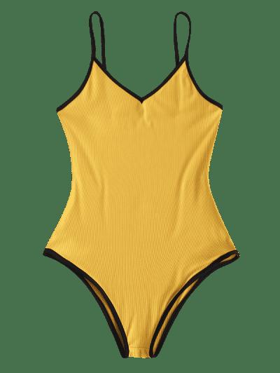 Ribbed Open Back Ringer Bodysuit