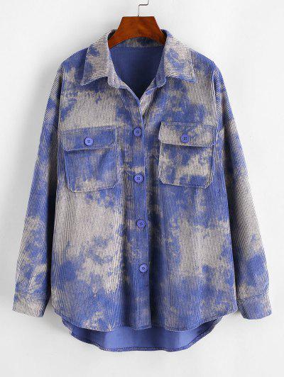 Tie Dye Corduroy Shirt Jacket - Purple L