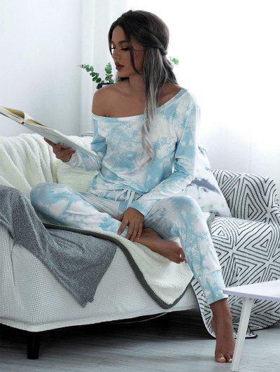 Skew Collar Tie Dye Lounge Jumpsuit - Light Blue M
