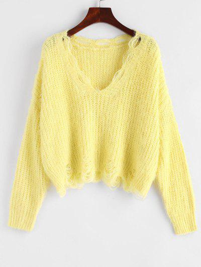 Fuzzy Distressed V Neck Cropped Sweater - Yellow