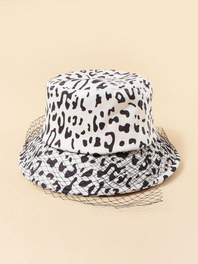 Mesh Embellished Cow Pattern Bucket Hat - White