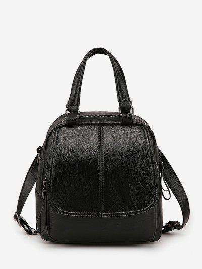 Retro PU Zipper Square Backpack - Black