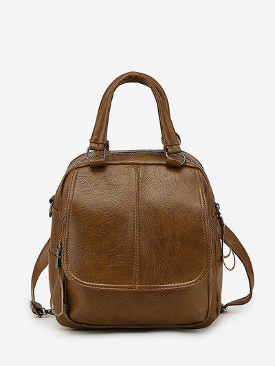Retro PU Zipper Square Backpack - Coffee