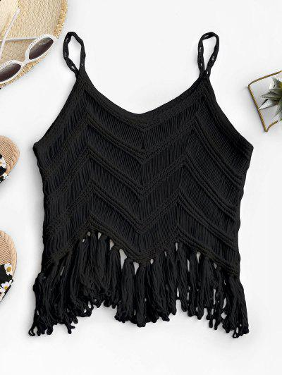 Fringed Crochet Beach Top - Black