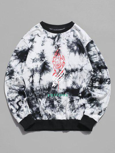 ZAFUL Skeleton Hand Rose Print Tie Dye Sweatshirt - White Xl