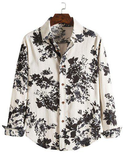 Floral Ink Spray Pattern Retro Button Up Shirt - Black L