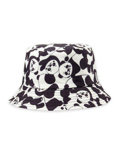 Chapéu De Balde De Impressão De Panda De Cartoon - Branco