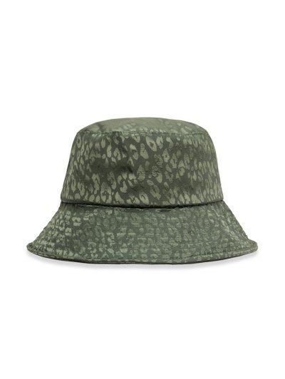 Leopard Print Casual Bucket Hat - Medium Sea Green