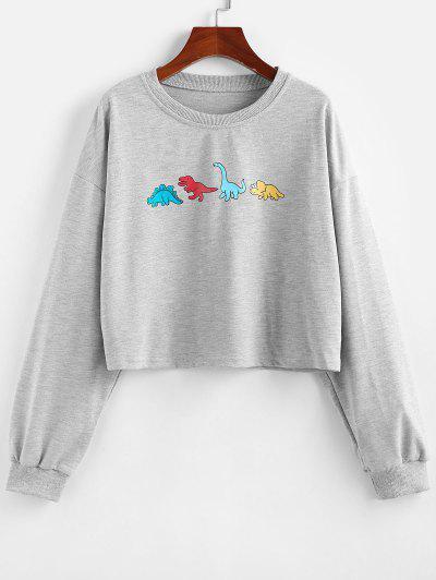 ZAFUL Dinosaur Print Drop Shoulder Cropped Sweatshirt - Light Gray S