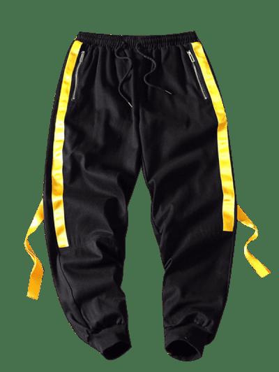 Ribbons Zippered Pockets Cargo Pants