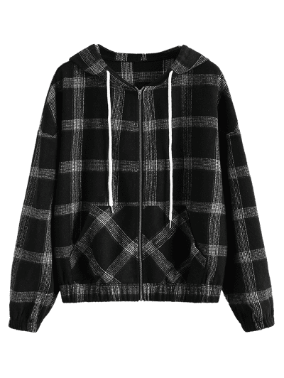 ZAFUL Hooded Plaid Zip Up Wool Blend Jacket