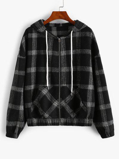 ZAFUL Hooded Plaid Zip Up Wool Blend Jacket - Black M
